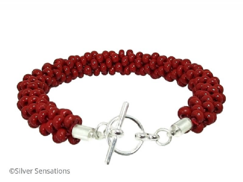 Cherry Red Beaded & Woven Kumihimo Seed Bead Bracelet